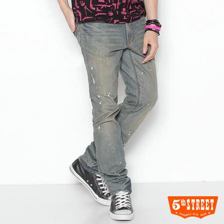 5th STREET 多元樣貌 復古潑漆中直筒牛仔褲-男款(拔淺藍)