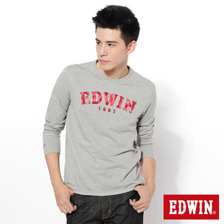 EDWIN 擦字LOGO長袖T恤-男-麻灰色