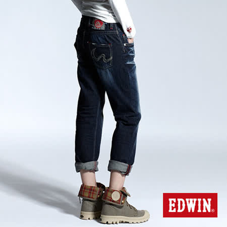 EDWIN 江戶勝 男友牛仔褲-女-原藍磨