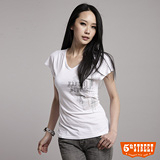 5th STREET 後綁腰V領T恤-女-白色