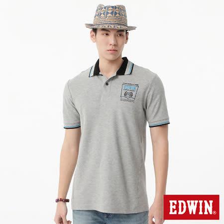 EDWIN 繡花配色POLO衫-男-麻灰色