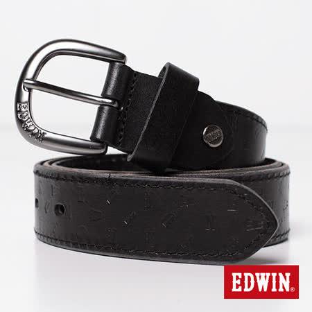 【EDWIN】突破象限 EDWIN轉向壓字皮帶-男款(黑色)