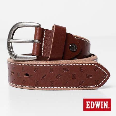 【EDWIN】突破象限 EDWIN轉向壓字皮帶-男款(深咖啡)