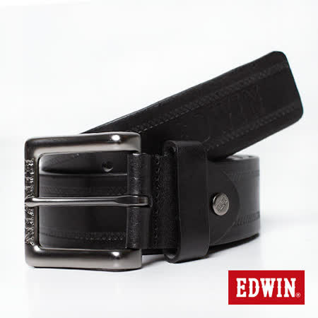 【EDWIN】曠野悍將 編織圖騰烙印皮帶-男款(黑色)