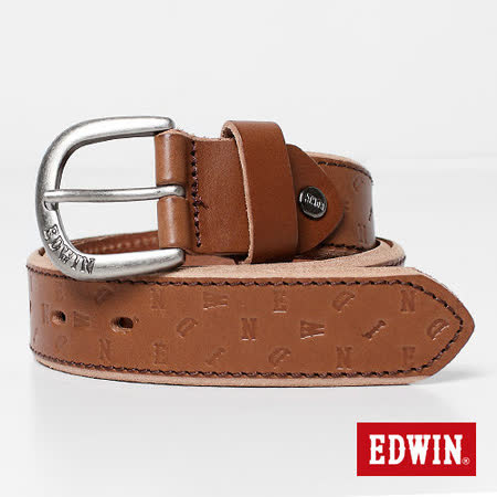 【EDWIN】突破象限 EDWIN轉向壓字皮帶-男款(褐色)