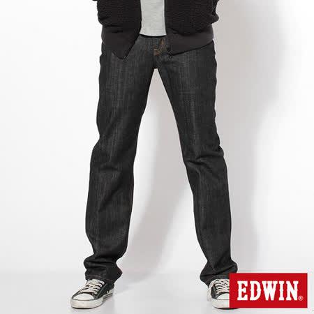 EDWIN 基本五袋高腰中直筒牛仔褲-男-黑色