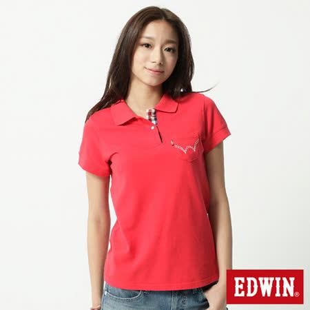 EDWIN 口袋W繡花POLO衫-女-紅色