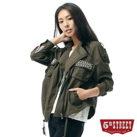 5th STREET 垂肩寬襯衫式外套-女-苔綠色