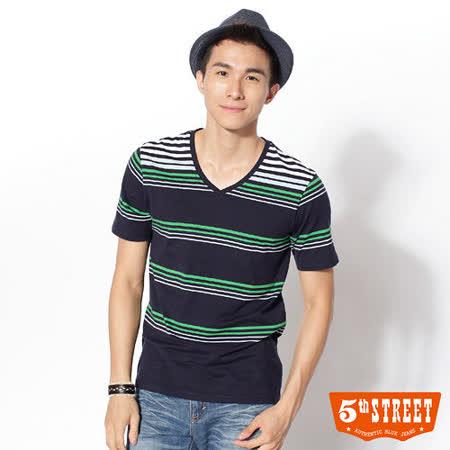 5th STREET V領橫條T恤-男-丈青色