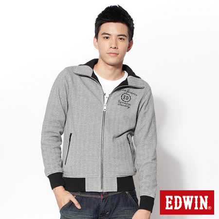 EDWIN 人字紋立領外套-男-灰色 M