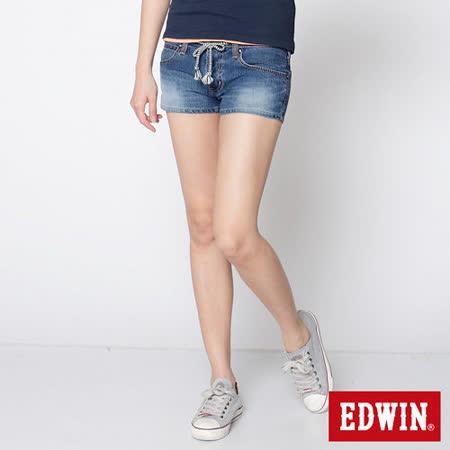 EDWIN 迦績褲JERSEYS牛仔短褲-女-石洗綠
