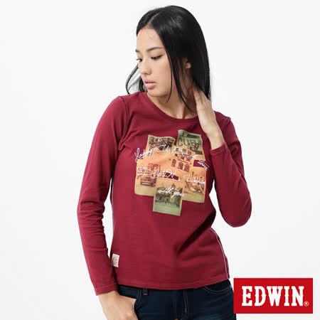 EDWIN T恤 懷舊相片圓領T恤-女-朱紅