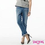 SOMETHING 後蕾絲繡花TAPERED牛仔褲-女-石洗藍
