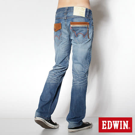 EDWIN 503B.T麂皮直筒牛仔褲-男-漂淺藍