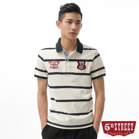 5th STREET 繡花條紋POLO衫-男-白色
