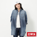 EDWIN 不對襯剪接長版牛仔襯衫-女-原藍色