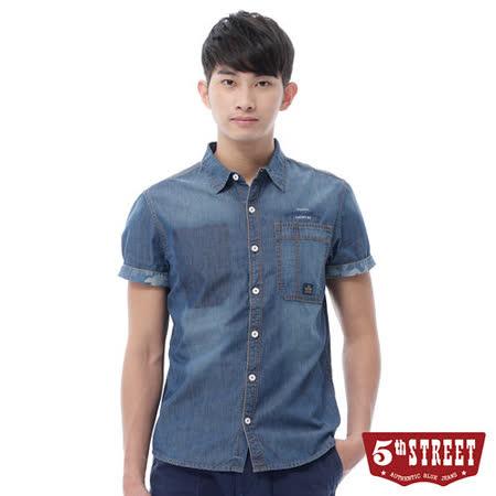 5th STREET 袖反折牛仔短袖襯衫-男-中古藍