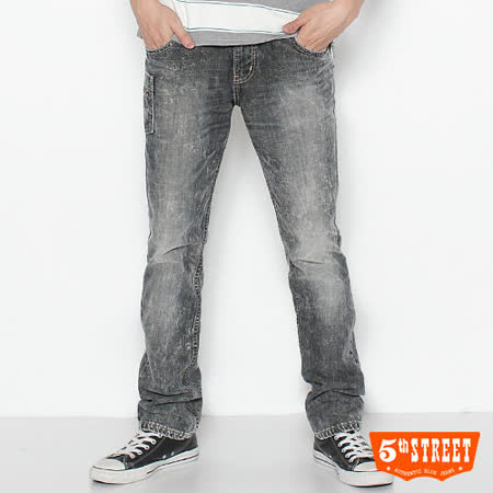 5th STREET URBA小直筒牛仔褲-男-中灰