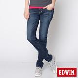 EDWIN MISS B.T.配皮窄直筒牛仔褲-女-石洗藍