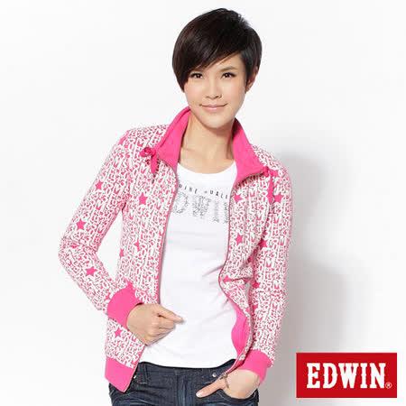 EDWIN 滿版印花立領外套-女-桃紅色