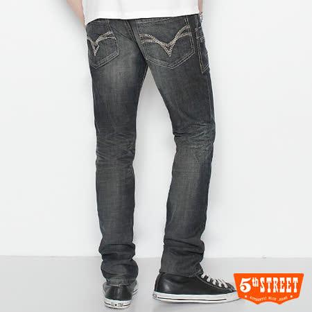 5th STREET URBA小直筒牛仔褲-男款(酵洗藍)