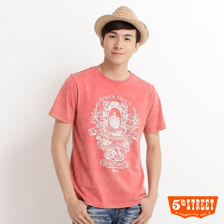 5th STREET 圖騰印刷T恤-男-淺灰桔