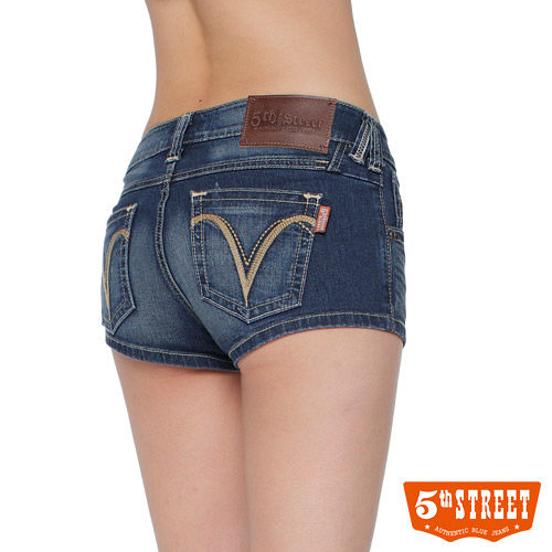 5th STREET 純夏主張 1965美型超短熱褲~女款^(酵洗藍^)