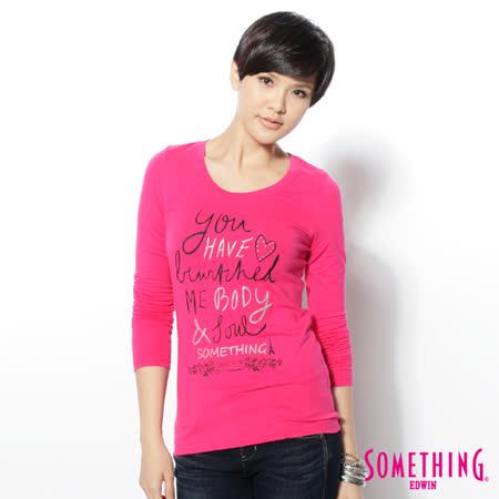 SOMETHING 趣味字母薄長T恤-女-桃紅色