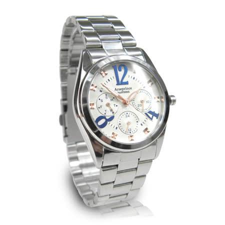 【Arseprince】方刻晶鑽時尚三眼中性錶-藍白色