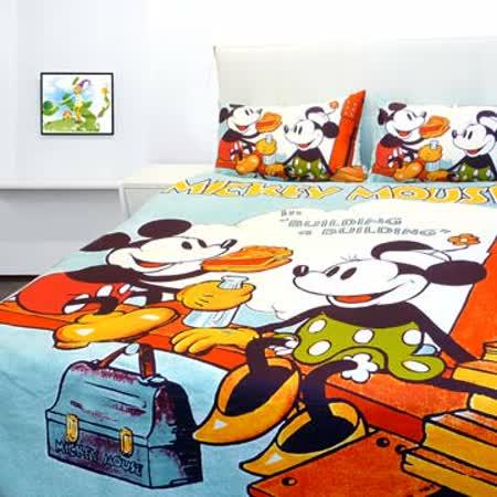 VIVI.ANI-迪士尼授權-米奇布魯托【快樂野餐】單人兩件式床包組 含枕套
