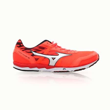 (男) MIZUNO WAVE CRUISE 10 馬拉松鞋- 慢跑 路跑 螢光橘白