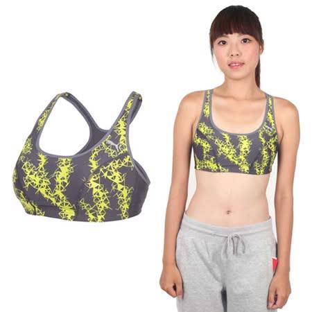 (女) PUMA 日本線訓練系列花紋短版運動背心-運動內衣 韻律 有氧 瑜珈 芥末綠灰
