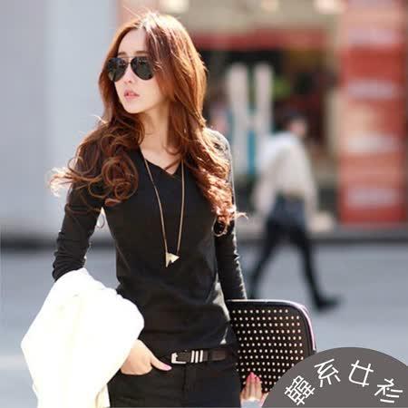 【韓系女衫】(s~2xl)長袖v領彈性綿質上衣-黑色