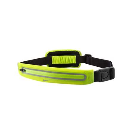 NIKE 擴充式薄型腰包-附小袋 手機包 慢跑 路跑 螢光綠銀 F