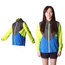 (女) MIZUNO 路跑風衣 - 慢跑 防風 連帽外套 美津濃 黑藍芥末綠