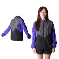 (女) MIZUNO 路跑風衣 - 慢跑 防風 連帽外套 美津濃 黑灰紫