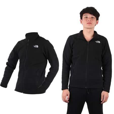 (男) THE NORTH FACE 彈性刷毛外套 - 立領外套 保暖 黑白