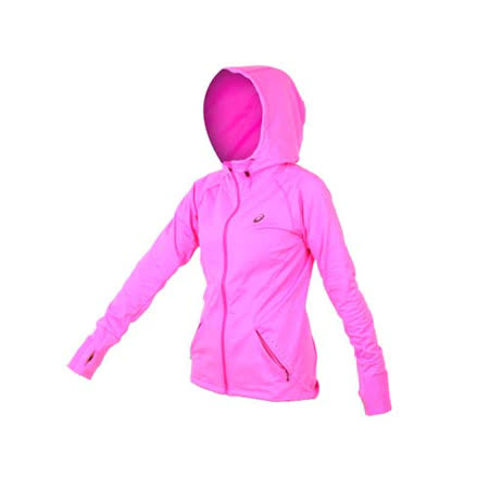 (女) ASICS 慢跑外套 - 路跑 亞瑟士 連帽外套 亮粉灰