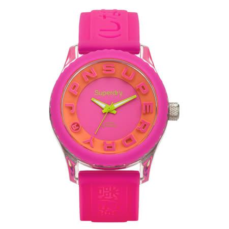 Superdry極度乾燥 Tokyo系列炫彩視覺運動腕錶-亮粉紅x橘x小