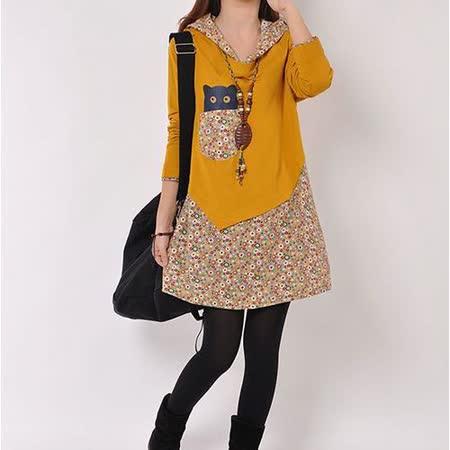 【Maya 名媛】 (M~2XL)春秋款長袖A字型連衣裙 假二件式春日花園小貓款-黃色