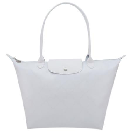 Longchamp 經典LM系列60週年復刻版格紋肩背包(大.白)