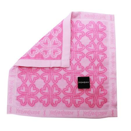 YSL 愛心拼幸運草花漾小方巾-粉紅色