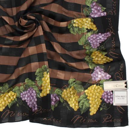 NINA RICCI 葡萄纍纍絹絲壓紋帕巾-黑/棕