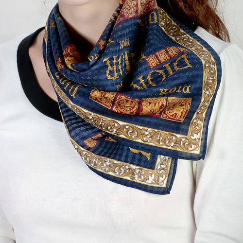 Christian Dior 古典巴洛克DIOR圖騰帕領巾-藍
