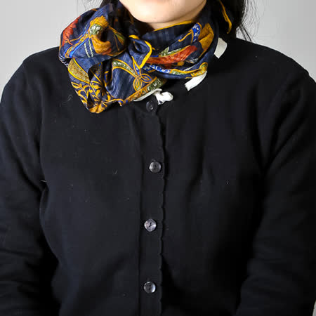 Christian Dior 古典巴洛克流蘇繩結帕領巾-深藍