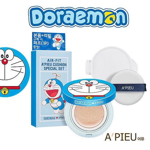 【2色選】韓國A'PIEU 高保濕空氣感氣墊粉餅 1+1 哆啦A夢聯名限量版 (13.5g*2)
