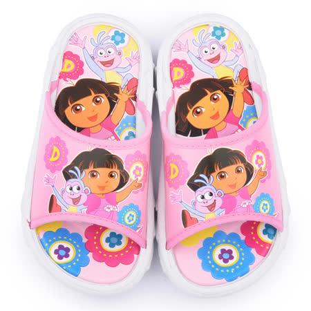 童鞋城堡-朵拉 中童 滿版塗鴉拖鞋DR1479-粉