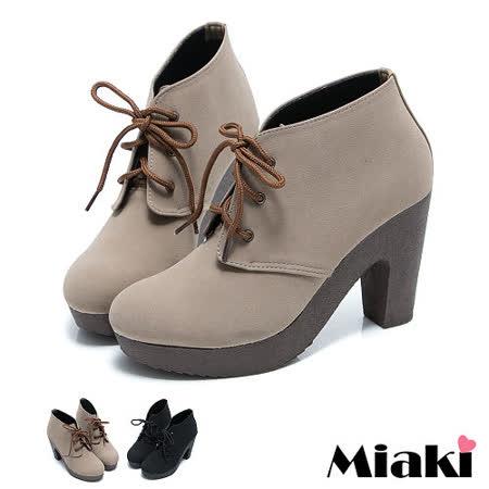 【Miaki】MIT 韓版原現時尚高跟綁帶踝靴短靴牛津靴 (卡其/黑色)