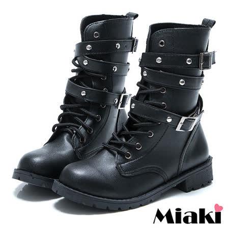 【Miaki】MIT 韓式軍裝雙環高筒馬汀靴短靴軍靴 (黑色)