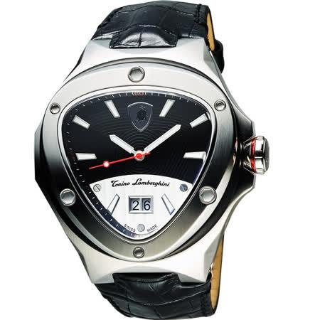 Tonino Lamborghini 藍寶堅尼 Spyder倒三角大日期腕錶-黑/48mm TL3027
